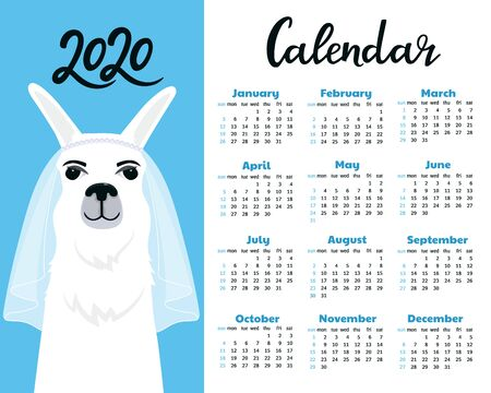 Calendar for 2020 from Sunday to Saturday. Cute llama bride in veil. Foto de archivo - 126635084