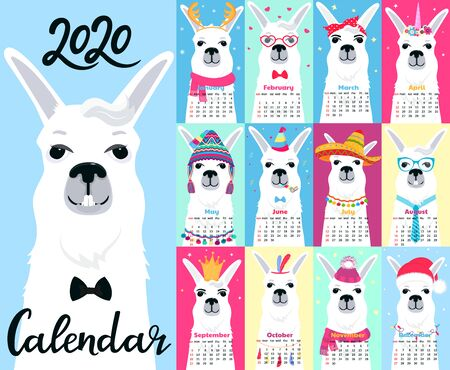Calendar for 2020 from Sunday to Saturday. Cute llama in different costumes. Foto de archivo - 126635085