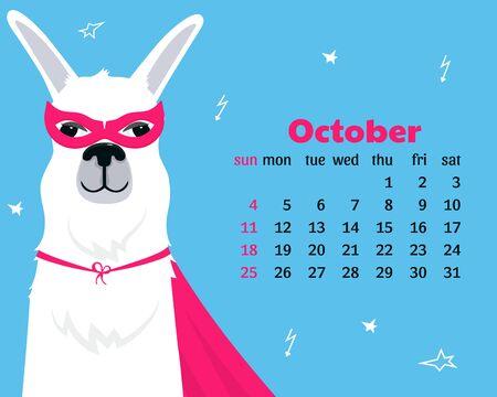 Calendar for October 2020. Week start on Sunday. Lama in super hero costume Foto de archivo - 128057768