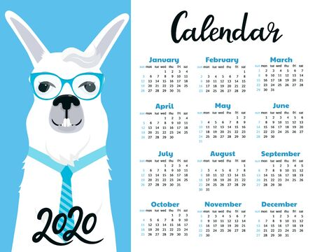 Calendar for 2020. Week start on Sunday. Business Llama with eyeglasses and tie. Foto de archivo - 128057767