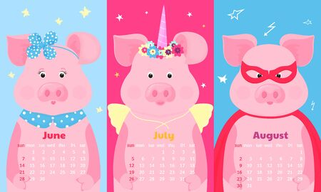 Cute pig fairy tale unicorn with a horn and a flower wreath and wings, superhero costume in a mask and a raincoat. Иллюстрация