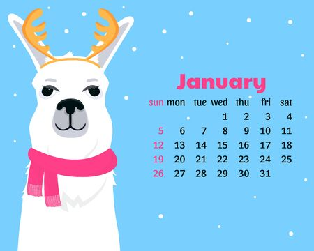 Calendar for January 2020 from Sunday to Saturday. Cute llama in scarf with antlers. Alpaca cartoon character. Funny animal