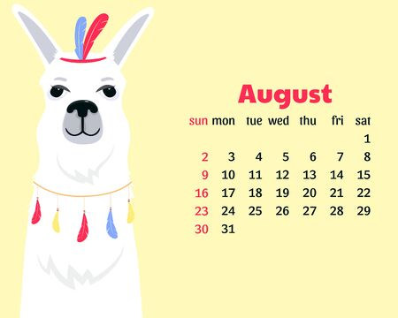 Calendar for August 2020 from Sunday to Saturday. Cute llama. Alpaca cartoon character. Funny animal Çizim