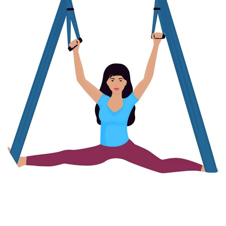 Young woman doing splits with hammock vector illustration. National yoga day.