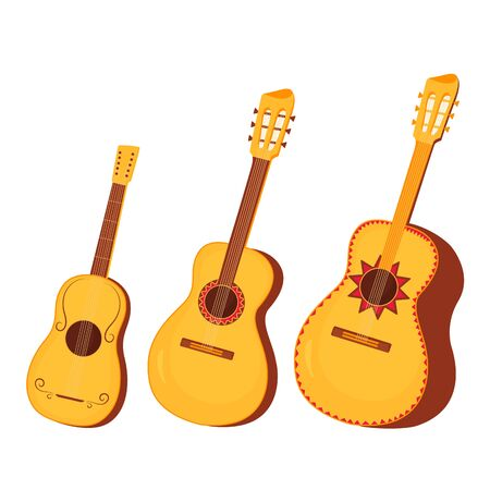 Set of traditional Mexican and Spanish musical instruments guitar Foto de archivo - 128057780
