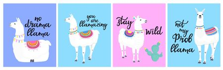 A set of cards with llamas and funny inscriptions.