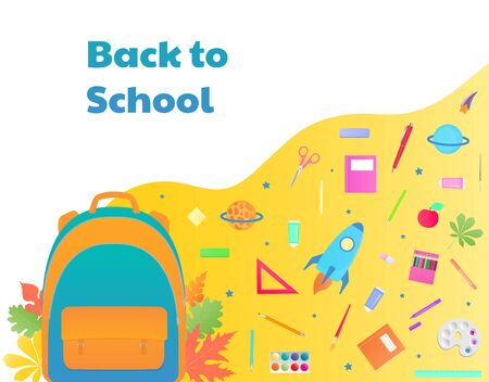 Backpack with study supplies, stationery. 向量圖像