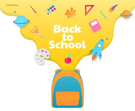 Back to school banner, backpack with study supplies, stationery.