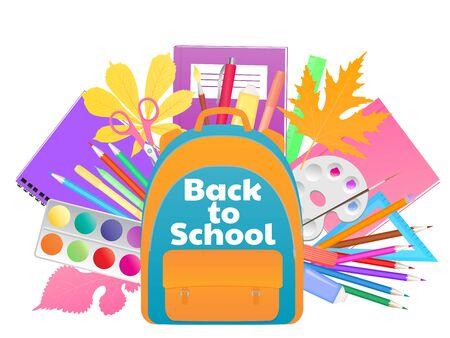 Banner de regreso a la escuela, mochila con útiles de estudio, papelería Ilustración de vector