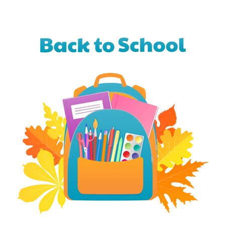 Back to school banner, backpack with study supplies, stationery Foto de archivo - 128094448