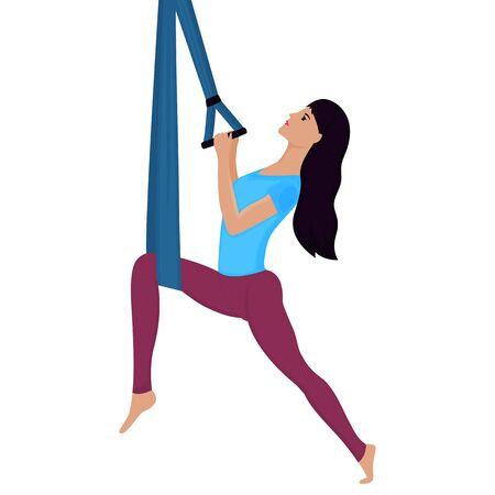 Young woman doing exercise with hammock