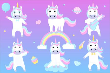 Set of funny unicorns. Cartoon characters playing guitar, dancing, sitting on a cloud.
