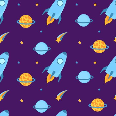 Rockets fly in space with planets and stars seamless pattern