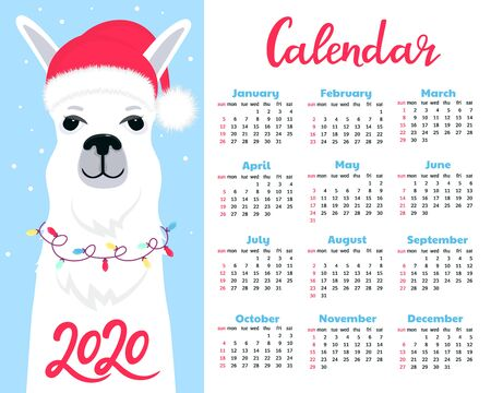 Calendar for 2020. Week start on Sunday. Cute llama in a hat of Santa Claus with a lights garland.