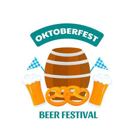 Oktoberfest - Bavarian festival. Banner with Beer Keg and Pretzel