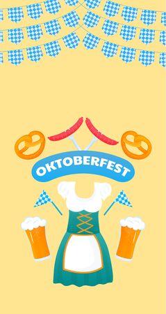 Oktoberfest banner. Traditional German womens Dirndl dress. Beer, pretzel, sausage.