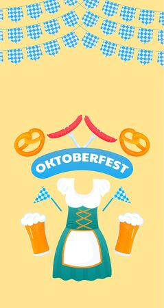 Oktoberfest banner. Traditional German womens Dirndl dress. Beer, pretzel, sausage.