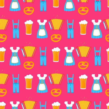 Oktoberfest - Bavarian festival seamless pattern. Traditional German women's Dirndl dress and men's lederhosen. Beer, pretzel, accordion