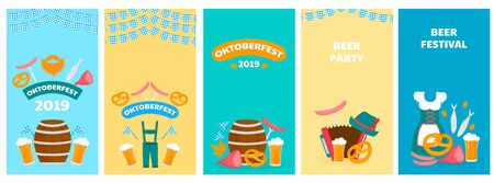 Oktoberfest - Bavarian festival. Posters with glasses and barrels of beer, pretzel and accordion. 向量圖像