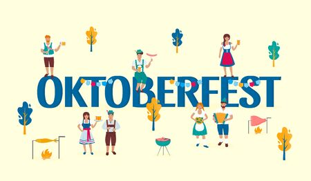 Tiny people in traditional Austrian costumes on the  of a huge inscription Oktoberfest