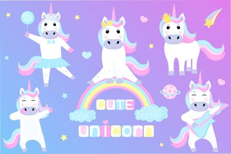 Set of funny unicorns. Cartoon characters playing guitar, dancing, sitting on a rainbow.