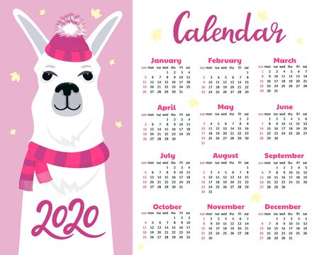 Calendar for 2020 from Sunday to Saturday. Cute llama in hat with fluffy pom pom and scarf.