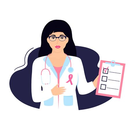Woman doctor holding clipboard. National Breast Cancer Awareness Month concept 向量圖像