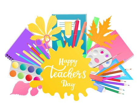 Happy Teachers Day banner with hand drawn lettering.