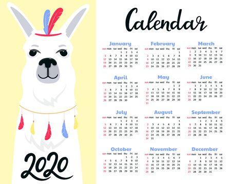 Calendar for 2020 from Sunday to Saturday. Cute llama. Alpaca cartoon character. Funny animal.