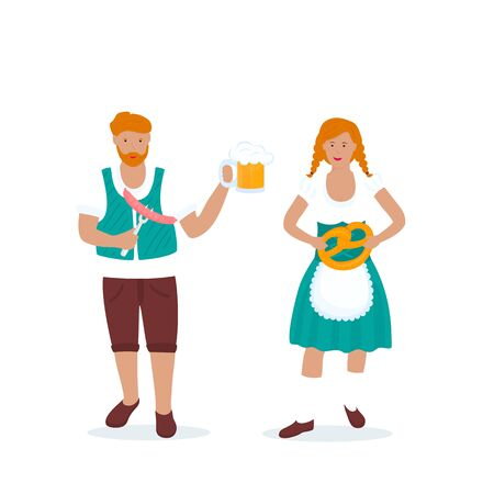 Man and woman in traditional German costumes celebrate Oktoberfest. Lederhosen and Dirndl Фото со стока - 130039221