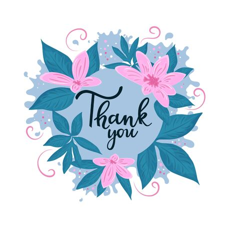 Thank you hand lettering. Thanksgiving Flower Frame Иллюстрация