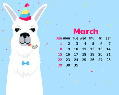 Calendar for March 2020. Week start on Sunday. Cute llama in a striped party hats and horn blower. Funny animal. 向量圖像