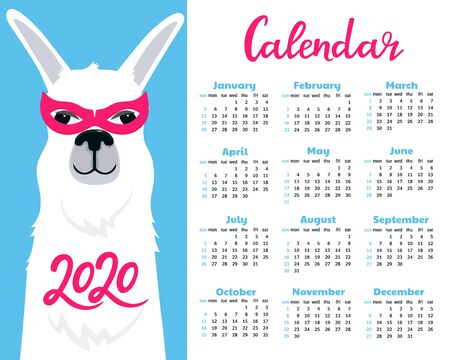 Calendar for 2020. Week start on Sunday. Lama in super hero costume