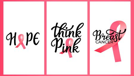 National Breast Cancer Awareness Month. Think Pink hand drawn lettering with ribbon. Set of vertical banners for social media, for story