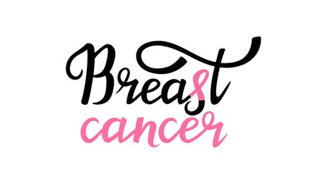 National Breast Cancer Awareness Month banner with pink ribbon and hand drawn lettering