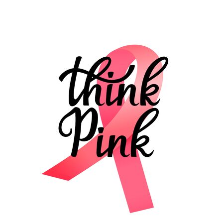 National Breast Cancer Awareness Month banner. Think Pink hand drawn lettering with ribbon 向量圖像