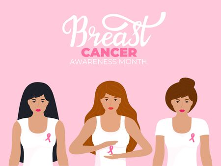 National Breast Cancer Awareness Month. A group of women in t-shirt with a pink ribbon 向量圖像