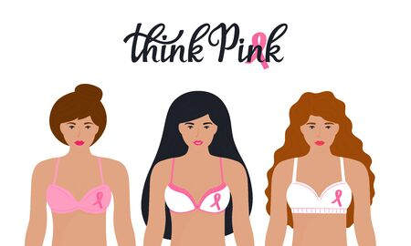 National Breast Cancer Awareness Month. A group of women in bras with a pink ribbon