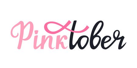 National Breast Cancer Awareness Month banner. Pinktober hand drawn lettering with ribbon