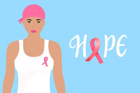 National Breast Cancer Awareness Month banner. Hope hand drawn lettering. A girl with a scarf on her head and a pink ribbon on her chest.