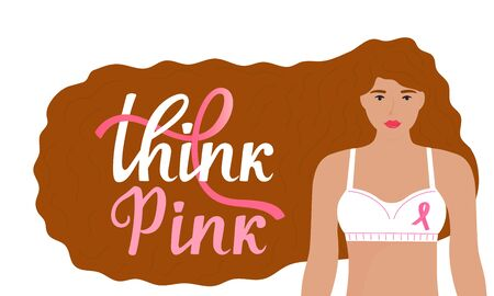 National Breast Cancer Awareness Month banner. Think Pink hand drawn lettering. A girl with long red hair in a bra with a pink ribbon.