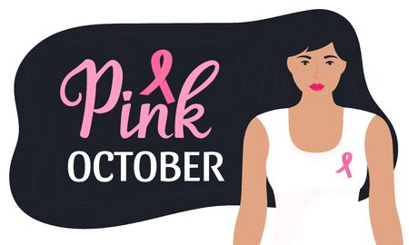 National Breast Cancer Awareness Month banner. Pink october hand drawn lettering. A girl with long black hair in a T-shirt with a pink ribbon.