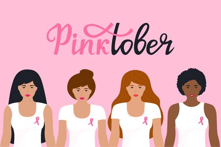 National Breast Cancer Awareness Month. Pinktober hand drawn lettering. A group of women of different nationalities in a T-shirt with a pink ribbon. 向量圖像