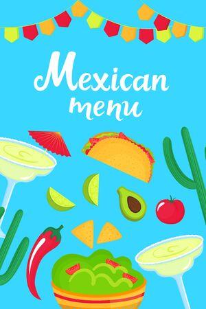Mexican menu. Guacamole, Margarita, Avocado, Tacos, Nachos, Chili