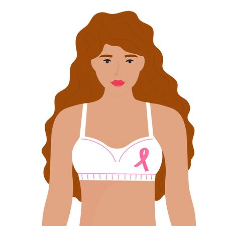 National Breast Cancer Awareness Month. A girl with red curly hair in a bra with a pink ribbon.