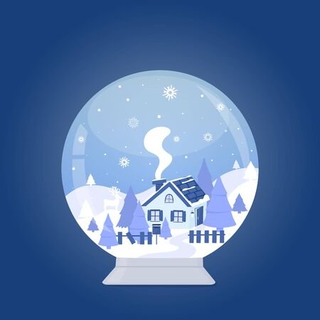 Snow globe with house in the forest among the mountains and firs. Winter landscape. Merry Christmas and Happy New Year.