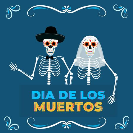 Day of the dead party. Dea de los muertos banner. Painted skeletons bride and groom