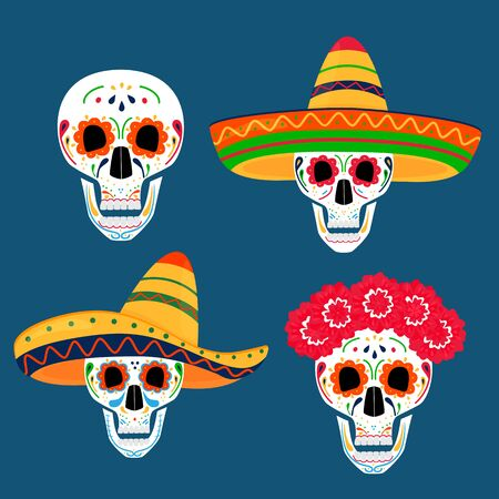 Day of the dead party. Dea de los muertos. Painted skulls.