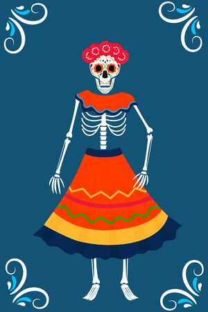 Day of the dead party. Dea de los muertos cards. Painted skeleton in a wreath and dress 向量圖像