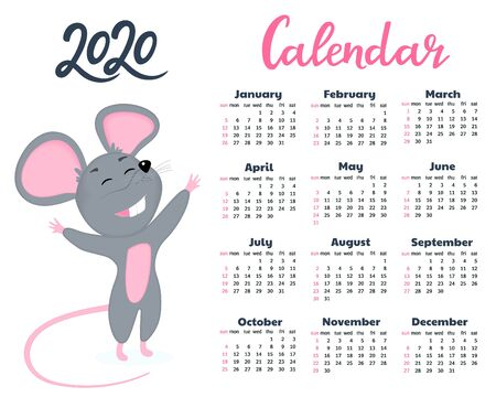 Funny cartoon mouse smiles and pulls hugs. Calendar for 2020 from Sunday to Saturday. Year of the Rat
